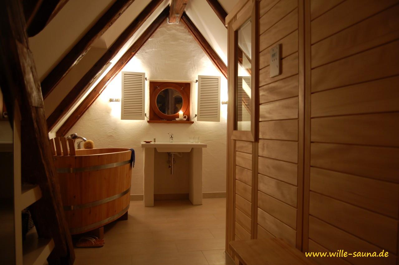 sauna dachschr ge wille. Black Bedroom Furniture Sets. Home Design Ideas