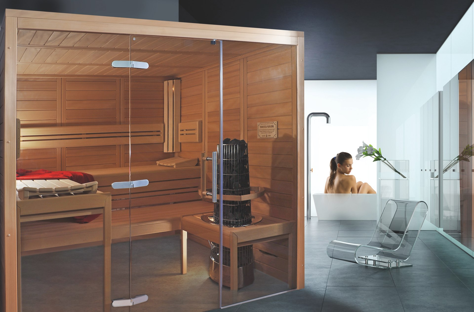 designsauna mit glas sauna mit modernem design. Black Bedroom Furniture Sets. Home Design Ideas